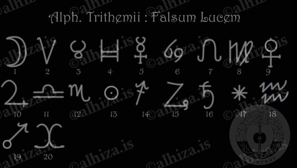 Еще алфавит Тритемия - Falsum Lucem, Лживый Свет